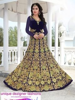 Readymade   Navy Blue Embroidered Anarkali Suit